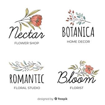 Kolekcja logo do kwiaciarni ślubnej