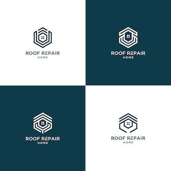 Kolekcja logo domu naprawy dachu