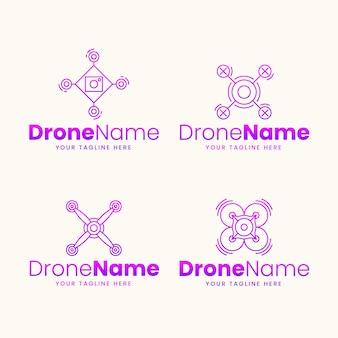 Kolekcja logo drona o płaskiej konstrukcji