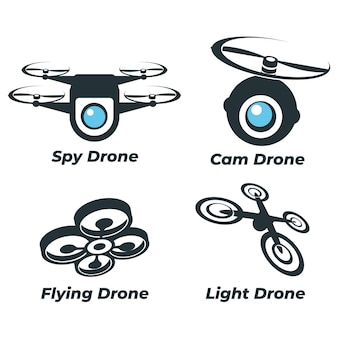 Kolekcja logo drona płaskiego