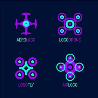 Kolekcja logo dronów o płaskiej konstrukcji