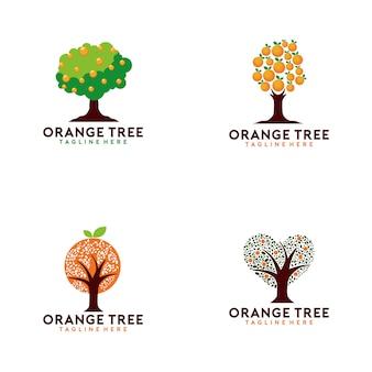 Kolekcja logo drzewa pomarańczowego