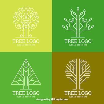Kolekcja logo drzewa w stylu płaski