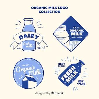 Kolekcja logo ekologicznego mleka