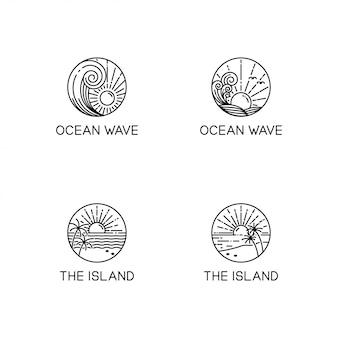 Kolekcja logo fal oceanicznych