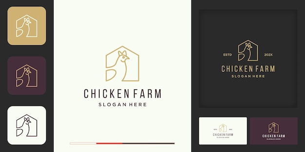 Kolekcja logo farmy drobiu i wizytówka vintage i nowoczesne logo