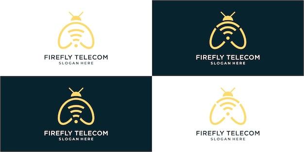 Kolekcja logo firefly w stylu grafiki liniowej
