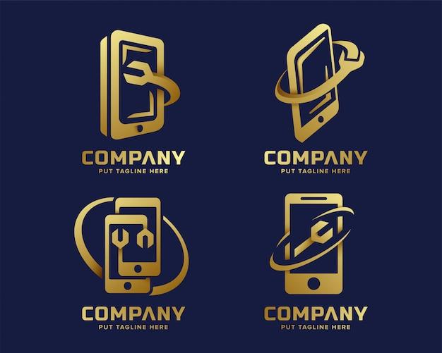 Kolekcja logo firmy creative fix złoty telefon komórkowy technologii logo