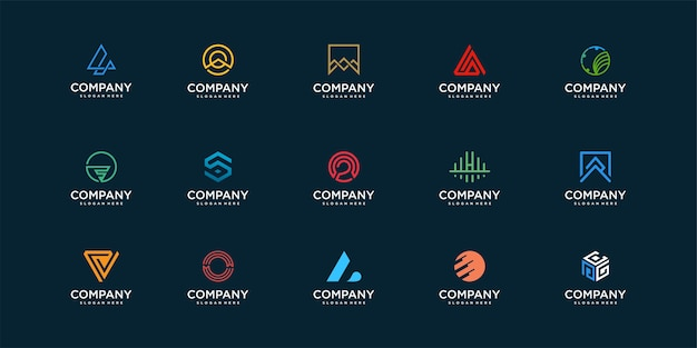 Kolekcja logo firmy z nowoczesnym i unikalnym projektem koncepcyjnym