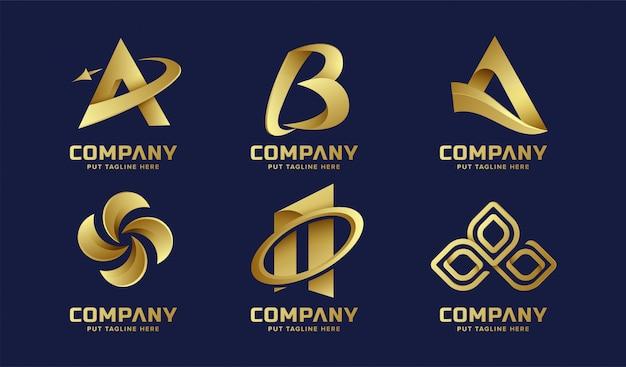 Kolekcja logo firmy złoty streszczenie