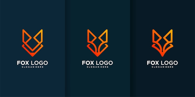 Kolekcja logo fox z różnymi i niepowtarzalnymi elementami