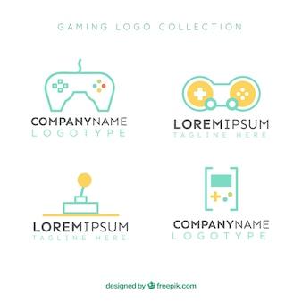 Kolekcja logo gier o płaskiej konstrukcji
