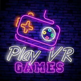 Kolekcja logo gier wideo neon znak