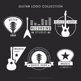 Kolekcja logo gitarowych czarno-białych