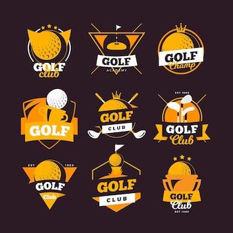 Kolekcja Logo Golfa W Stylu Vintage Premium Wektorów