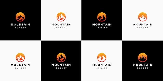 Kolekcja logo górskiego zachodu słońca