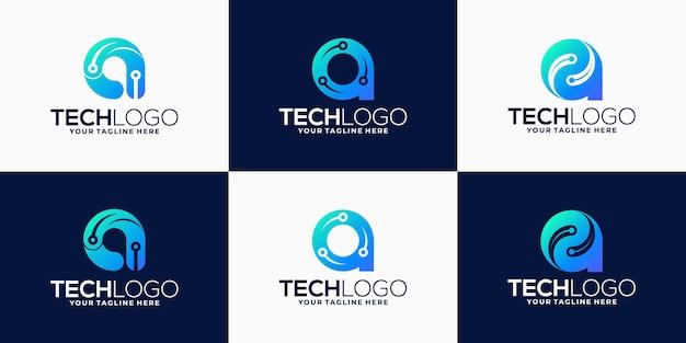 Kolekcja logo gradientowego litery a dla technologii, biotechnologii, ikony technologii