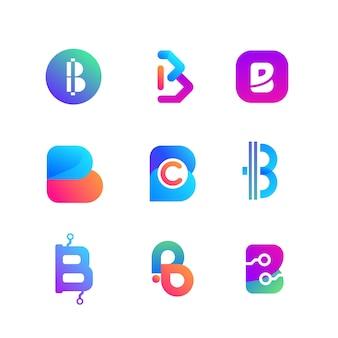 Kolekcja logo gradientu bitcoin