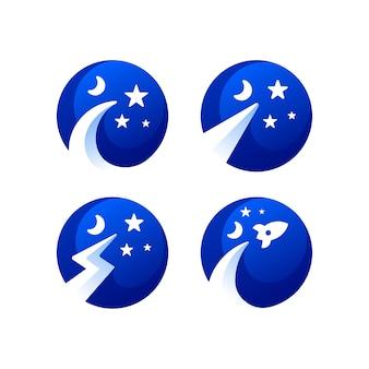 Kolekcja logo gradientu gwiazdy przestrzeni