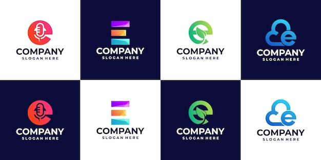 Kolekcja logo gradientu litery e, kolorowe logo, dla pomysłów na projektowanie logo firmy
