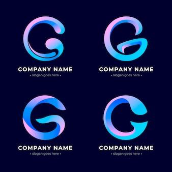 Kolekcja logo gradientu litery g