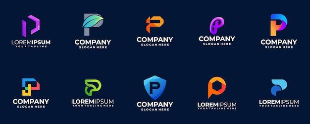 Kolekcja logo gradientu litery p