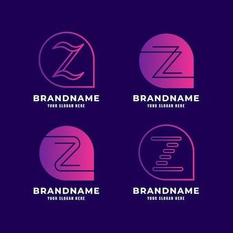 Kolekcja logo gradientu litery z.