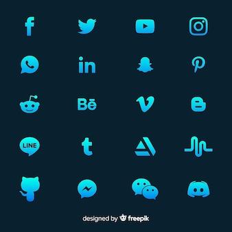 Kolekcja logo gradientu mediów społecznościowych