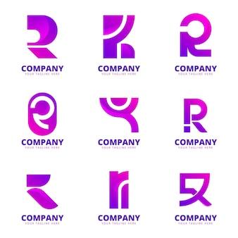 Kolekcja logo gradientu r