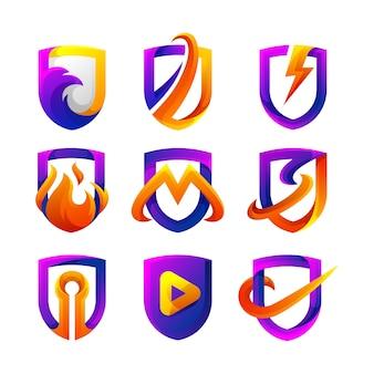 Kolekcja logo gradientu tarczy