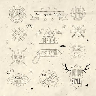 Kolekcja logo hispter