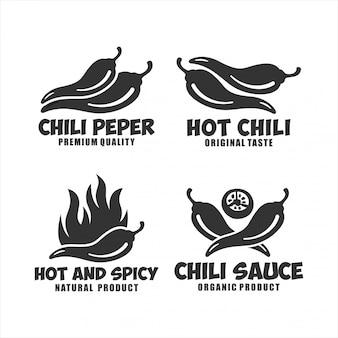Kolekcja logo hot chili pepper