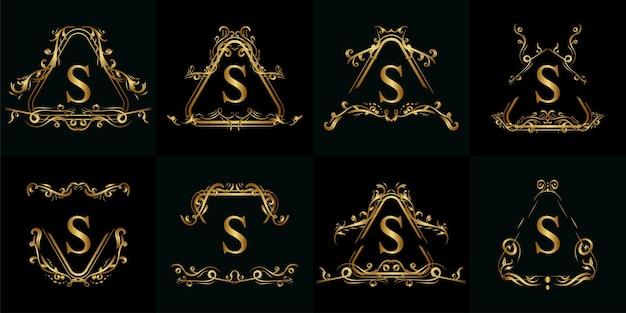 Kolekcja logo inicjał s z luksusowym ornamentem
