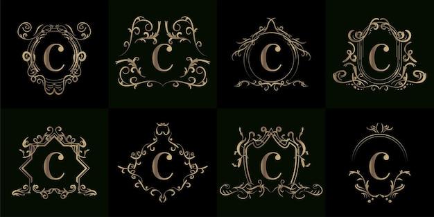 Kolekcja logo inicjału c z luksusowym ornamentem lub ramką kwiatową