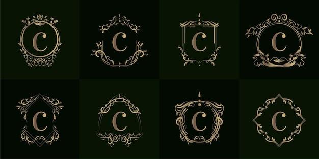 Kolekcja logo inicjału c z luksusowym ornamentem