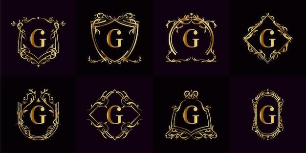 Kolekcja logo inicjału g z luksusowym ornamentem lub ramą kwiatową