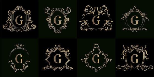 Kolekcja logo inicjału g z luksusowym ornamentem