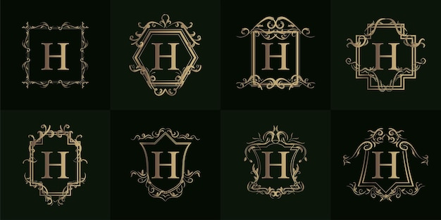 Kolekcja logo inicjału h z luksusowym ornamentem lub ramką kwiatową