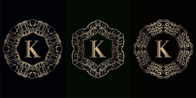 Kolekcja logo inicjału k z luksusową ramą ornament mandali