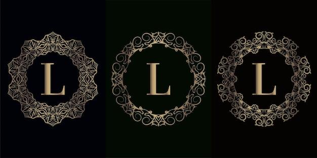 Kolekcja logo inicjału l z luksusową ramką z ornamentem mandali