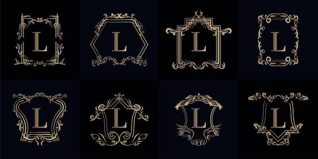 Kolekcja logo inicjału l z luksusowym ornamentem