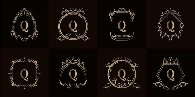 Kolekcja logo inicjału q z luksusowym ornamentem lub ramką kwiatową