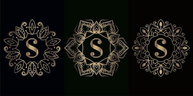 Kolekcja logo inicjału s z luksusową ramą ozdobną mandali