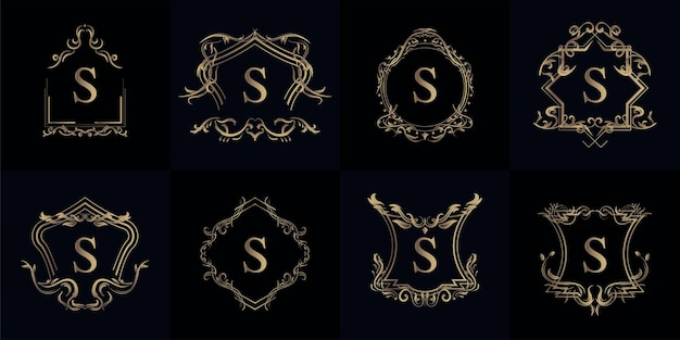 Kolekcja logo inicjału s z luksusowym ornamentem lub ramką kwiatową