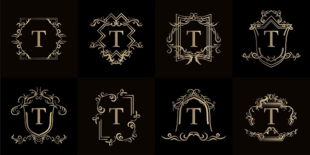 Kolekcja logo inicjału t z luksusowym ornamentem lub ramką kwiatową