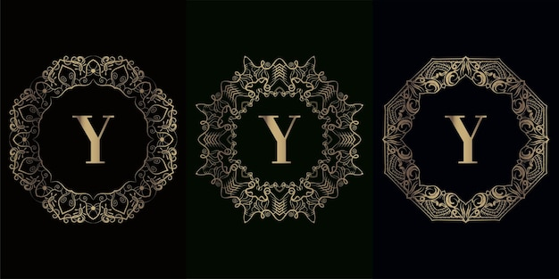 Kolekcja logo inicjału y z luksusową ramą ozdobną mandali