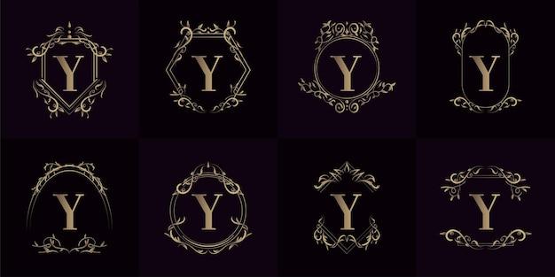 Kolekcja logo inicjału y z luksusowym ornamentem lub ramką kwiatową