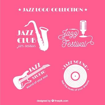Kolekcja logo jazz o płaskiej konstrukcji