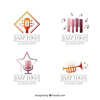 Kolekcja logo jazz w stylu gradientu
