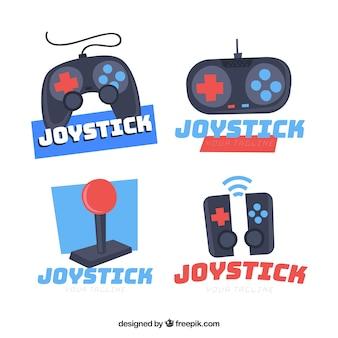 Kolekcja logo joysticka o płaskiej konstrukcji